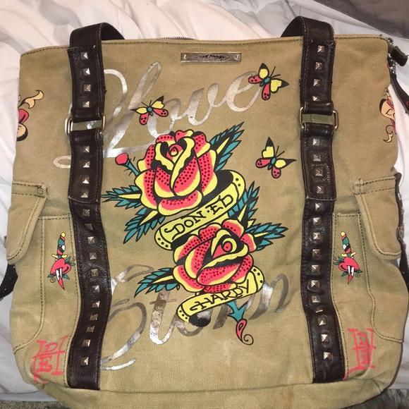 Ed Hardy Bags   Beautiful Canvasleather Tote Bag   Poshmark 37092b6f0b